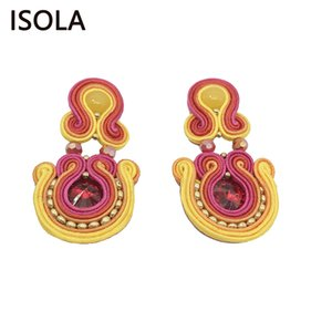 Wholesale Vintage Resin Water Drop Soutache Earring Ethnic Style Charming Boho Earrings For Traditional Festival Woman Earrings Gift