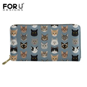 Wholesale FORUDESIGNS Spectacular Cats Printed Women Wallets High Quality PU Leather Female Purse Long Money Bag Ladies Clutch Carteras