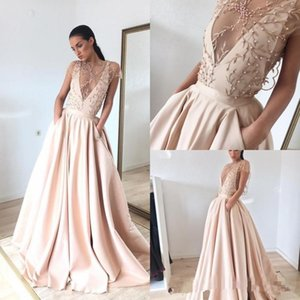 Wholesale Modest Blush Pink Pearls Deep V Neck Prom Dresses 2018 Embroidery A Line Formal Evening Gowns With Pockets Plus Size Party Dress