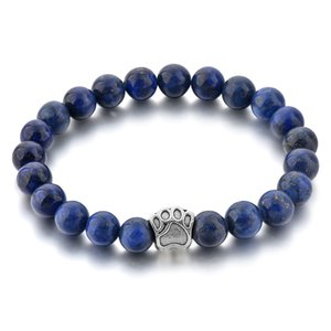 Wholesale Natural Stone Crystal Beads Bracelets Women Dog Adjustable Elastic Dark Blue Beads Vintage Bracelets For Women New