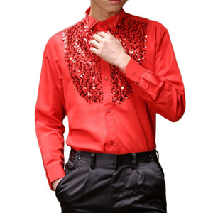 Wholesale Mens Latin Dance Costumes Cotton Blend Sequin Shirt Long sleeved Male Ballroom Dance Dresses Modern Tango Rumba Dancing Clothing