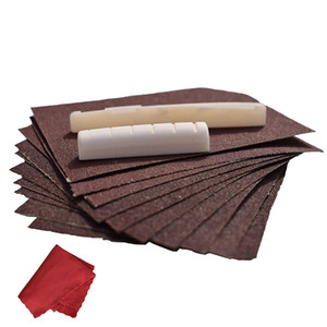 Wholesale sand papers resale online - Acoustic Guitar Bone Bridge Saddle and Nut Kit With Guitar Accessories Parts Sand Paper and Clean Cloth