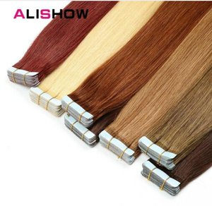 Tape In Remy Human Hair Extensions Double Drawn Remy Hair Straight Invisible Skin Weft PU Tape On Hair Extensions