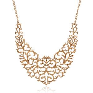 2018 New Metallic Hollow Carved Necklace Fashion Women Bib Choker Statement Vintage Pendants Maxi Necklace Collier Femme D18111201