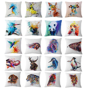 Fansinating 45*45cm 20 Styles Animal Cushion Covers Linen Bedroom Seat Decorative Pillow Home Decor Kitchen Accessories Party Decoration on Sale