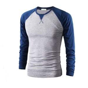 Wholesale Raglan Sleeve T Shirt Men Tee Shirt Homme Trend Black and White Mens T Shirts Casual Long Sleeve Crew Neck Slim Fit Tshirt