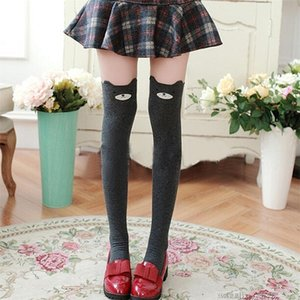 Wholesale 1 Pair Women Lady Girls Favorite Cute D Cartoon Animal Cat Bear Face Thigh Stockings Funky Over Knee High Socks S1017