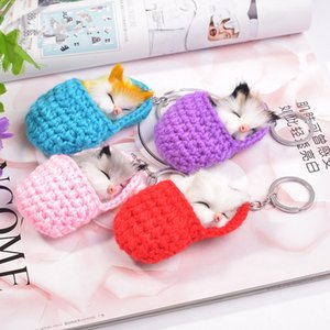 Wholesale 1PC Lovely Sleeping Cat Keychains Fashion Plush Animal Key Chains Pendant Car Key Rings Holder Women Bag Charm Girls Jewelry