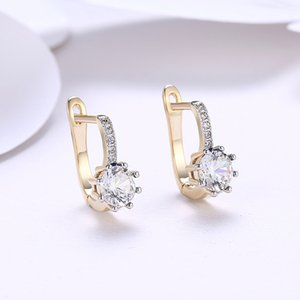 Wholesale 2018 New Fashion Ladies Czech Drilling Flower Earrings Gold Zircon Earrings Bride Jewelry Ladies Gifts Wedding Engagement Earrings