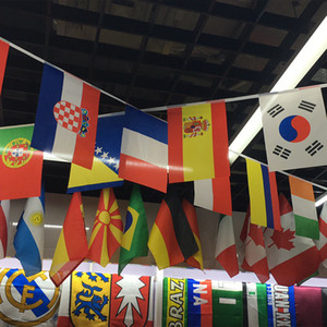 Wholesale outdoor soccer flags resale online - Hanging Flags Football Cup Russia World Cup cm Flag Team Country Strings Flags Banner Bunting Bar Decoration Indoor Outdoor
