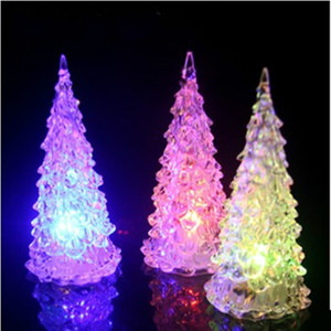 Wholesale Modern Mini LED Lights Colorful Christmas Trees Shape Night Lamp Crystal Plastic Acrylic Light Home Party Gift Decor