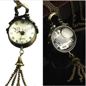 Wholesale Womens Quartz Pocket Watch PC Victorian Style Vintage Necklace Watch Pendant Glass Ball Shape Keychain Watch Gift C5