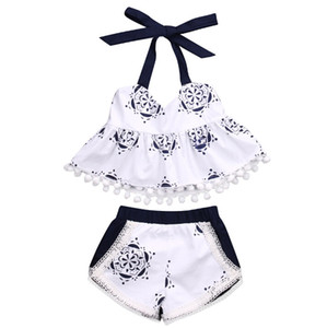 Wholesale retro baby clothes resale online - Ins Hot Summer Baby Girls Clothes Retro Elegant Blue White Sling Porcelain Print Tops Shorts Fashion Kids Girls Clothing Clothing Sets