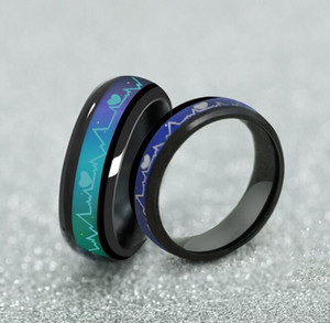 Wholesale Unique Tone Colorful Changing Heartbeat Heart Ring Mood Temperature Emotion Feeling Love For Women Men Wedding Jewelry gift
