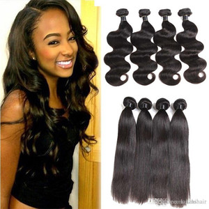 Wholesale Brazilian Virgin Hair Extensions Straight Body Wave Hair Weaves 3 4 Bundles Brazilian Straight Mongolian Indian Remy Human Hair Wefts