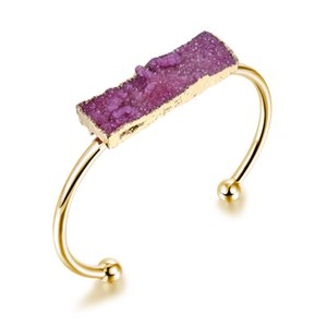 Wholesale Omydrusy PC Charms Druzy Hand Cuff Bangle Natural Stone Drusy Open End Bracelets Fashion Gold Color Hand Jewelry For Women DB5