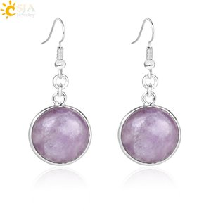 Wholesale CSJA Women Summer Fashion Collection Jewelry Round Gemstone Natural Healing Stone Danagle Earrings Real White Quartz Amethyst Jewellery E582