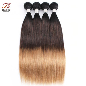 Wholesale ombre human hair piece resale online - Ombre Blonde A Brazilian Straight Hair Weave Bundles B Three Tone Pieces inch Remy Human Hair Extensions