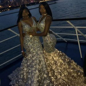 Bling Bling Mermaid Prom Dresses Sexy Deep V Neck Beads Crystals 3D Rose Floral For Black Girls African Evening pageant Dresses Plus Size