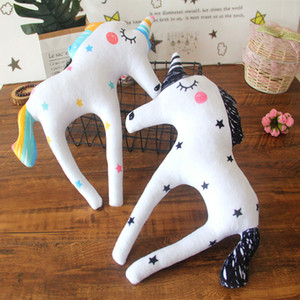 Wholesale Unicorn Bolster Plush Doll Baby Soothing Super Soft Happy Toys Printed Five pointed Star Striped Stuffed PP Cotton Birthday Gift Room Layout