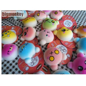 Big monkey NEW 40pcs Lot, 4.5CM PU corful Kawaii Mini Lovely expression of bear Squishy Cell Phone Charm with tag