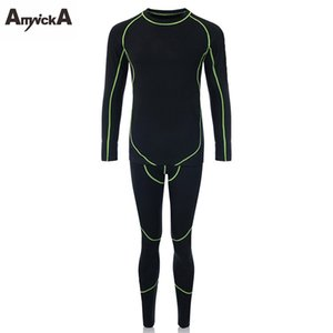 Wholesale AmynickA Brand Winter Long Johns Sets Men New Quick Dry Warm Men s Thermal Underwear Male Warm Thermo Underwear Black A36A
