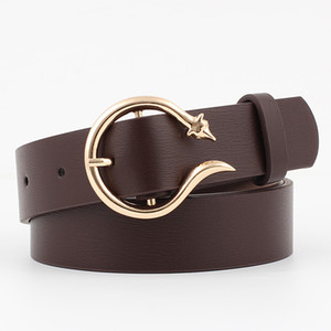 Wholesale Winfox Vintage Black White Brown PU Leather Belts For Women Wide Gold Fox Round Pin Buckle Waist Belt Female