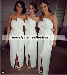 Wholesale slit bridesmaids dress resale online - 2018 White Mermaid Bridesmaid Dresses Sleeveless Side Slit Bridesmaids Gowns Sheath Plus Size Dress Weddings for Girls