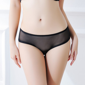 Wholesale Nylon Woman Panties Briefs Tanga Sexy Mesh See Through Transparent Hollow Out Lace Underwear T back Women High Quality Crotchless Briefs