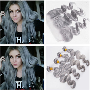 Wholesale silver hair dyes for sale - Group buy Silver Grey Virgin Brazilian Human Hair Weaves with Lace Frontal Closure x4 Body Wave Pure Grey Human Hair Bundles Deals with Frontal
