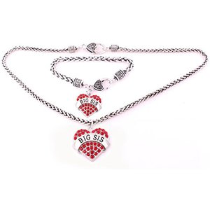 BIG SIS Hearts Love Jewelry Sets 1set Lobster Claw Wheat Chain With Large Clasp Crystal Heart Necklace Bracelet Set