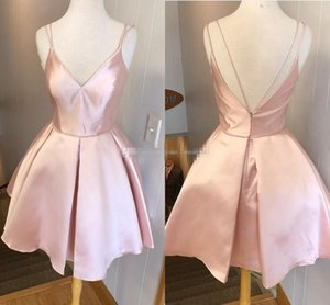 Wholesale Lovely Pink Simple Style Homecoming Evening Dresses V Neck Spaghetti Straps Satin Ruffles Backless Prom Dresses Sexy Party Dresses