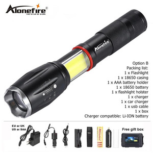 Wholesale AloneFire G701 flashlight lm CREE XML T6 led Aluminum Waterproof Zoom Tactical Torch COB Magnet Work lantern camping light battery