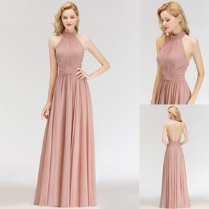 Wholesale pleated chiffon halter evening dress for sale - Group buy Real Image Sexy Halter Dusty Pink Bridesmaid Dresses Chiffon Backless Ruched Pleats Wedding Guest Dress Formal Evening Gown BM0043