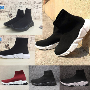 Wholesale 2019 paris Sock Shoes Casual Shoe Speed Trainer High Quality Sneakers Speed Trainer Sock Race Runners black Shoes men and women White Shoe