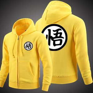 Wholesale 2018 Anime Cosplay Dragon Ball Z Sun Wukong Sun Goku Winter Coat Casual Clothes Cashmere Sweatshirts Zipper Hoodie Fleece Hooded
