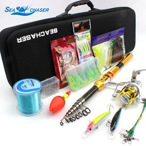 Wholesale Gold color fishing rod set M M spinning telescopic Rod and Spinning Reel Lures line Hook Fishing Tackle set