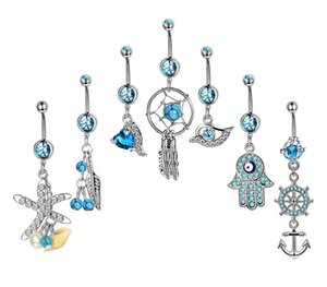 Wholesale 7PCS set Navel Piercing Rings Vintage Star Fatima Hand Anchor Owl Belly Button Ring Belly Piercing CZ Crystal Party Gift Decor Body Jewelry