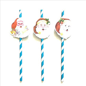 Wholesale Christmas Tree straw paper straw Christmas Decorations straw For Home Happy New Year candy color Pendant