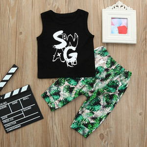 Wholesale boy vests resale online - Vieeoease Boys Sets Letter Kids Clothing Summer Fashion Vest Tee Print Pants EE