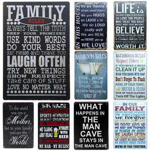 Wholesale inFour Bathroom Rules Metal Signs Family Home Decor Vintage Tin Signs Pub Vintage Decorative Plates Metal Wall Art Plaques