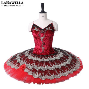 Wholesale women ballet tutu costumes ballet dress burgundy red classical profesional tutus pancake platter performance adult BT9227