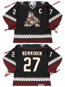 Wholesale Custom Phoenix Coyotes TEPPO NUMMINEN Hockey Jerseys Home Black Vintage CCM TEPPO NUMMINEN Stitched Jersey C Patch