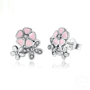 Wholesale cherry blossom earrings resale online - 925 Sterling Silver Poetic Daisy Cherry Blossom Stud Earrings Mixed Clear CZ Pink Flower Women ANNIVERSARY SALE YMPAS461