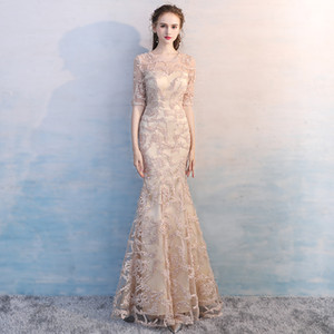 Elegant Champagne Lace Beading Evening Dress Mermaid Evening Gowns 1 2 Sleeve Jewel Sheer Neck Women Party Dress Zipper Floor Length D26 on Sale
