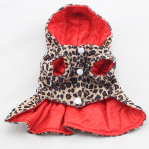 Pets Dogs Leopard Pattern Tutu Coat Dress Puppy Hoodies Both Sides Wear Dog Clothes