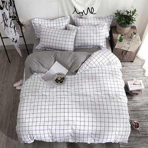 Bedding Set Fashion duvet cover bed sheet Pillowcase Square stripes Home textile black White Gray combination bedclothes on Sale