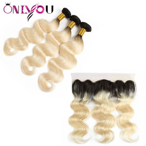 Wholesale ombre human hair piece resale online - 1B Ombre Body Wave Human Hair Bundles with Lace Frontal Ear to Ear Brazilian Peruvian Indian Virgin Remy Hair Weaves Extensions