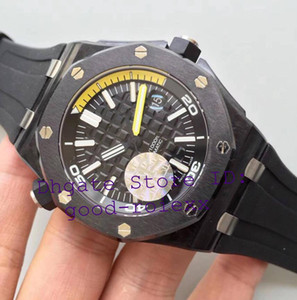 Wholesale Super Mens Automatic Cal.3120 Watch Men Ceramic Bezel Carbon Case Fiber Rubber 15706 Date Diver 42mm 15706AU Watches Royal Wristwatches