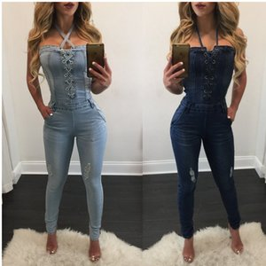 Wholesale new fashion sexy summer bandage Women Fashion Denim Jeans BIB Pants Overalls Straps Jumpsuit Rompers Trousers